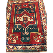 "Beautiful Caucasian KAZAK ORIENTAL RUG 4' x 5'2"", Vegetable Dyes, Wool on Wool foundation-Free appraisal -Free shipping"