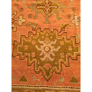 "SALE ca. 1900 OUSHAK Oriental Rug Beautiful APRICOT/Salmon with light GREEN border 10'5""X"