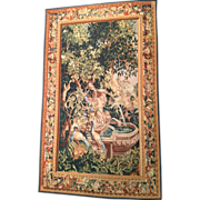 SALE Garden Scene Handmade TAPESTRY of lush Green Foliage, Fountain and Birds  5' x 8 ...