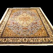 "SALE Persian Tabatabai Hunting Design Tabriz Oriental Rug  6'6""x10' light blue/cream"