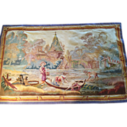 "SALE 18th c. FRENCH AUBUSSON Tapestry Wall Hanging  Boat on the River scene, 2'6"" x 4', h"