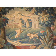 "SALE 18th c. French Aubusson Tapestry Art Wall Hanging, countryside estate scene, 7'6"" x"