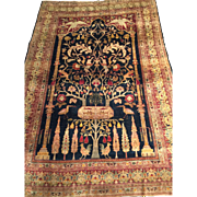 SALE Rare & Unusual  Antique SILK PERSIAN HERIZ Oriental Rug Tree of Life, Silk Pile & Silk ..