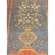 SALE RARE BLUE & Coral -Fine SAROUGH TREE OF LIFE Persian Oriental Rug or Wall Hanging  4'x6'