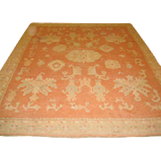 "SALE Fabulous Antique OUSHAK Oriental Rug, Coral, Cream & Green 8'2"" X 9'6"", hand kn"
