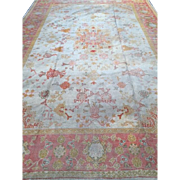 SALE Fabulous Antique, ca. 1890 OUSHAK Oriental Rug made in Turkey, Cream Field, Pink Border,