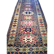 "Beautiful Antique Shirvan Caucasian Oriental Runner Geometric Runner 4'1"" x 11'4"" Perfect condition, ca. 1890 $4850 Free appraisal-Free shipping"