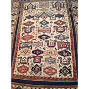 "SALE Rare ZEYKHUR Caucasian Oriental Rug ,Geometric design, ca. 1880, 4' X 5'5""  hand kno"