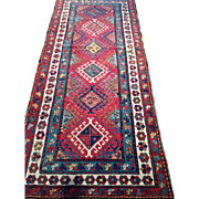 "Beautiful KAZAK Caucasian Geometric Oriental Rug , Hand knotted of wool using natural dyes ca. 1890, 3'8"" x 8'4"" Free insurance appraisal-Free shipping"