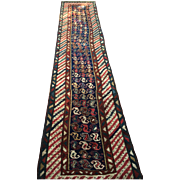 Beautiful NW PERSIA Oriental Rug Runner, ca. 1880, Hand knotted pure Wool using natural vegetable dyes, 3'x 12'-Free insurance appraisal-Free shipping