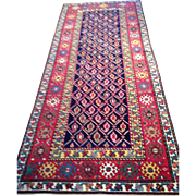 "Caucasian KAZAK Runner, Hand Knotted of Wool using Natural Dyes, ca. 1890 3'5"" x 8'9"" $3800 Free insurance appraisal-free shipping"