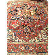 "SALE Fabulous Geometric Antique Persian SERAPI Oriental Rug- ca. 1890, 9'11"" X 13'5"""