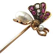 SOLD French 18K Gold Tie/Hat/Lapel Stick Pin Butterfly Art Nouveau Diamond Ruby Pearl