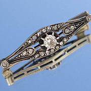 SOLD Antique French 18K Gold & Silver Diamond Brooch Circa 1890
