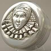 French Silver Plated Bonbon Jewelry Trinket Box Art Deco Carnival