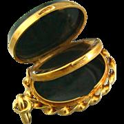 SOLD Antique French 18K Gold & Green Jasper Locket Pendant