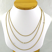 SOLD Antique French 18K Gold Chain Necklace Pearl Sautoir