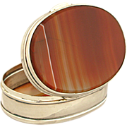 Vintage Red Banded Agate & Silver Plated Pill/Snuff/Trinket Box Case