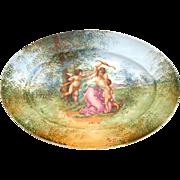 French Hand Painted Porcelain Oval Dish / Platter / Plate Old Paris Romantic Cherubs