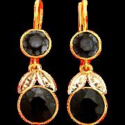 French 18K Yellow Gold & Onyx Earrings Leaf