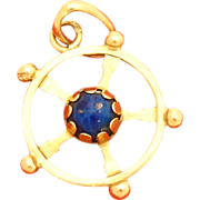 European Vintage 18K Yellow Gold & Lapis Lazuli Pendant Ship Steering Wheel French Import