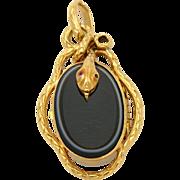 SALE PENDING Antique French 18K Gold Locket Pendant Snake Napoleon III Style