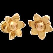 SALE PENDING Vintage 14K Yellow Gold Stud Post Earrings Flower Art Deco