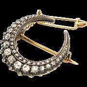 SOLD 19C Antique 18K Gold, Silver & Diamond Crescent Moon Brooch