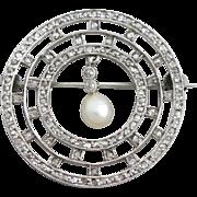 ART DECO C.1920 FRENCH 18K WHITE GOLD & DIAMOND BROOCH PIN W/PEARL