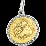 Antique French 18K Yellow & White Gold Icon Pendant w/Diamond and Chain