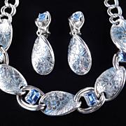 Vintage Rhinestone Embossed Engraved Enamel Link Necklace Dangle Earrings Demi Parure Set