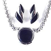 Vintage Napier Thermoset Chromed Metal Pendant Necklace Earrings Demi Parure Set
