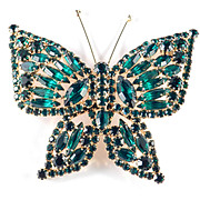 Vintage Large Rhinestone Butterfly Brooch Pin