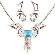 Vintage Art Moderne Art Glass & Rhinestone Necklace Earrings Demi Parure Set