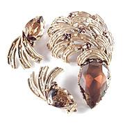 Vintage Rhinestone Art Glass Plumed Brooch Pin Earrings Demi Parure Set