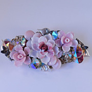 Alice Caviness Molded Glass Flower & Rivoli Crystal Brooch Pin