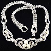 Jomaz Mazer Rhinestone Faux Pearl Necklace Rhodium Plate