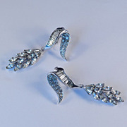Marcel Boucher Rhinestone Dangle Earrings Rhodium Plate