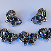Schiaparelli Watermelon Rhinestone Bracelet Earrings Demi Parure Set