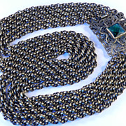 1930s Vintage Chain Bib Necklace Jeweled Clasp