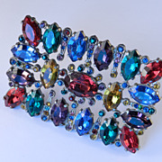 Art Deco Vintage Huge Rhinestone Sash Brooch Pin