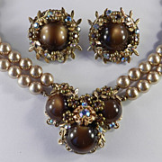 Rhinestone Faux Pearl Moonstone Cabochon Necklace Earrings Demi Parure Set