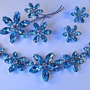 Rhinestone Necklace Brooch Pin Earrings Parure Set Rhodium Plate