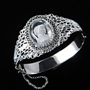 Whiting & Davis Crystal Intaglio Cameo Hinged Clamper Bracelet