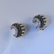 Jomaz Mazer Rhinestone Faux Sapphire Crescent Shell Earrings