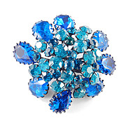Cis Countess Cissy Zoltowska Signed Rhinestone Crackle Glass Brooch Pin