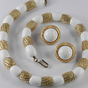 Trifari Sahara White Bead Necklace Earrings Demi Parure Set