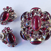 Schreiner Red Rhinestone Art Glass Brooch Pin Earrings Demi Parure Set