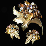 Signed ART Rhinestone Cabochon Brooch Pin Earrings Demi Parure Set