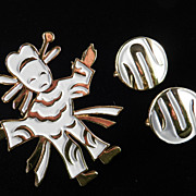 Trifari Ming Enamel Figure Brooch Pin Earrings Demi Parure Set